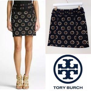 TORY BURCH Tweed Black & Brown Polka Dot Skirt- 4